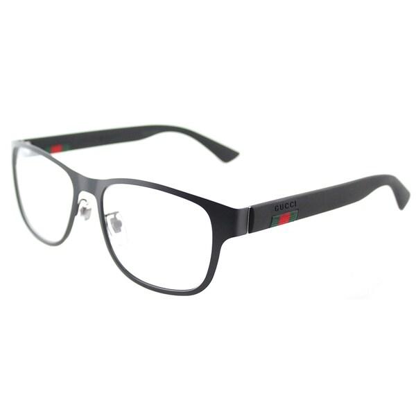 aa8f6acf3c9 Shop Gucci GG 0013O 001 Black Metal 55mm Square Eyeglasses - Free ...