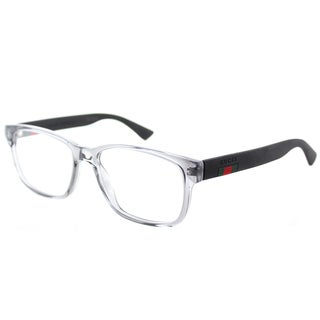 Gucci GG 0011O 003 Transparent Light Grey Plastic 53-mm Square Eyeglasses