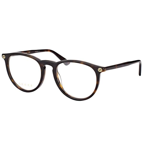 bcf7d00484ac Shop Gucci GG 0027O 002 Havana Plastic Round Eyeglasses 50mm - Free ...