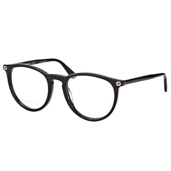 56ec02eaa7c Shop Gucci GG 0027O 001 Black Plastic Round Eyeglasses 50mm - Free ...