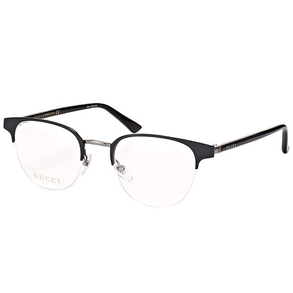 6612cbb8099 Gucci Unisex GG 0020O 001 Black Metal 49-millimeter Round Eyeglasses