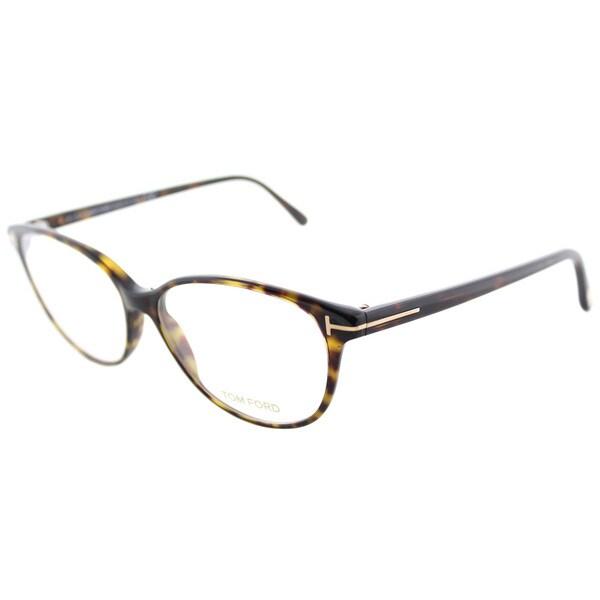 bc4b6b42f5dbe Tom Ford FT 5421 052 Soft Cat-Eye Dark Havana Plastic Cat-Eye Eyeglasses