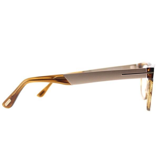 Tom Ford FT 5372 048 Brown Striped Plastic Square Eyeglasses 54mm