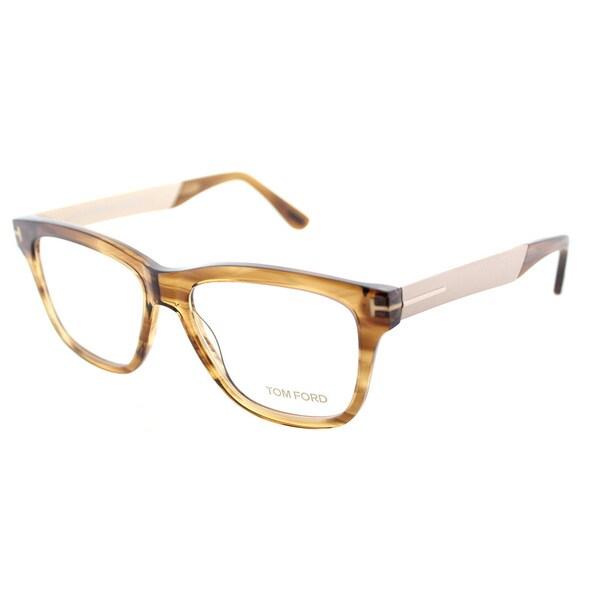 Tom Ford FT 5372 048 Brown Striped Plastic Square Eyeglasses 52mm