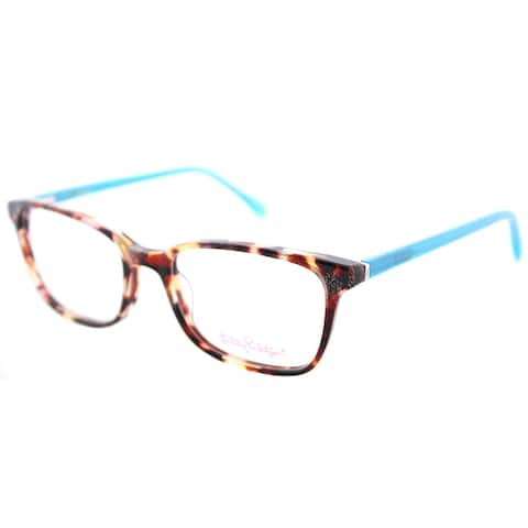 Lilly Pulitzer Witherbee TO Tortoise Plastic Rectangle Eyeglasses 49mm