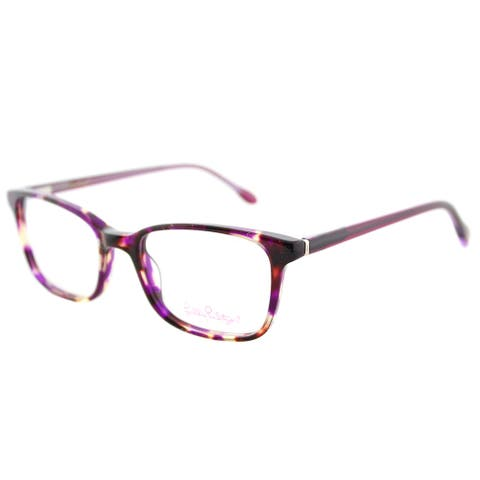 Lilly Pulitzer Witherbee FU Fuschia Tort Plastic Rectangle Eyeglasses 49mm