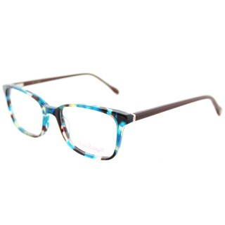 Lilly Pulitzer Witherbee AQ Aqua Tortoise Plastic Rectangle Eyeglasses 51mm