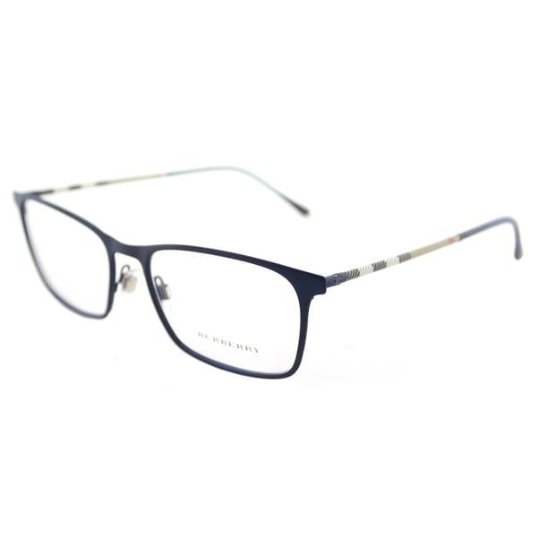 cf15f04e6cb2 Shop Burberry BE 1309Q 1224 Blue Rubber Metal Rectangle Eyeglasses ...