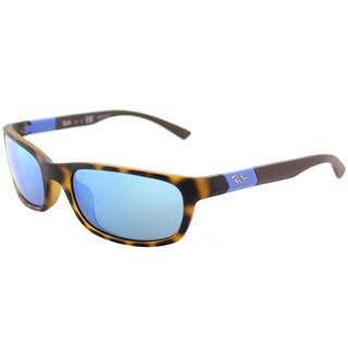 Ray-Ban RJ 9056 702555 Matte Havana Plastic Sport Sunglasses Blue Flash Mirror Lens