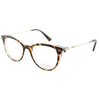Valentino VA 3005 5026 Havana on Crystal Plastic Cat-Eye Eyeglasses 49mm