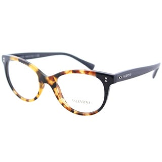 Valentino VA 3009 5005 Cubed Havana Blue Plastic Cat-Eye Eyeglasses 50mm