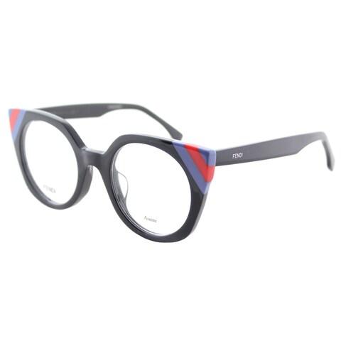Fendi FF 0246 PJP Waves Dark Blue Striped Red Blue Plastic Cat-Eye Eyeglasses 48mm