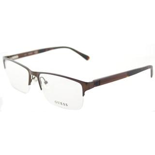 Guess GU 1879 049 Matte Dark Brown Metal Semi-Rimless Eyeglasses 56mm
