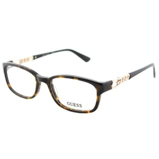 Guess GU 2558 052 Dark Havana Plastic Rectangle Eyeglasses 51mm