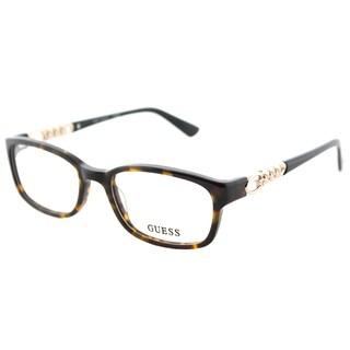 Guess GU 2558 052 Dark Havana Plastic Rectangle Eyeglasses 51mm