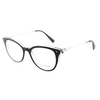 Valentino VA 3005 5025 Black on Crystal Plastic Cat-Eye Eyeglasses 49mm