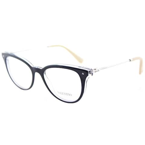 Valentino VA 3005 5028 Blue on Crystal Plastic Cat-Eye Eyeglasses 49mm