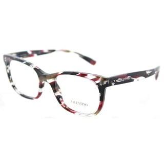 Valentino VA 3010 5039 Striped Pink Havana Plastic Rectangle Eyeglasses 50mm
