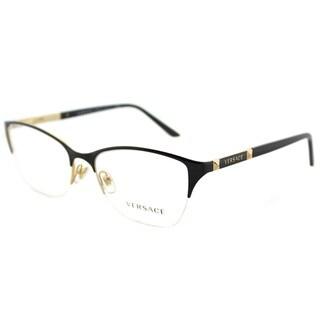 Versace VE 1218 1342 Black Gold Metal Cat-Eye Eyeglasses 53mm