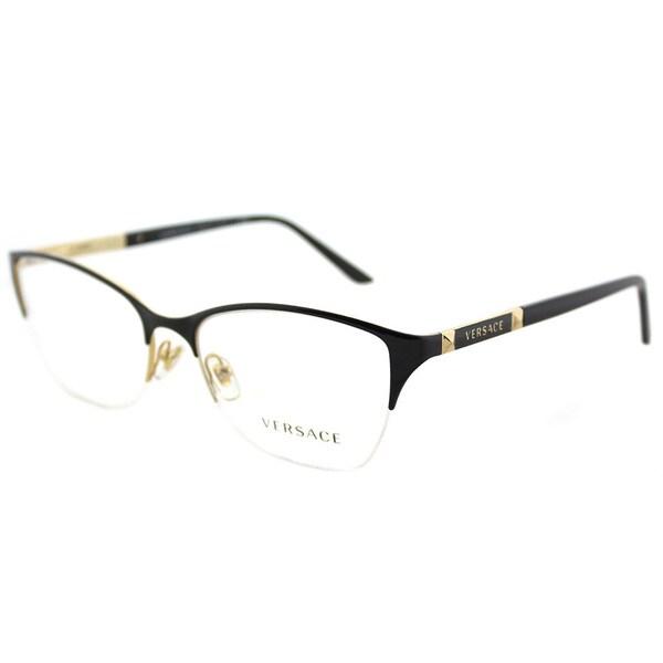 fd24a6e5738 Shop Versace VE 1218 1342 Black Gold Metal Cat-Eye Eyeglasses 53mm ...