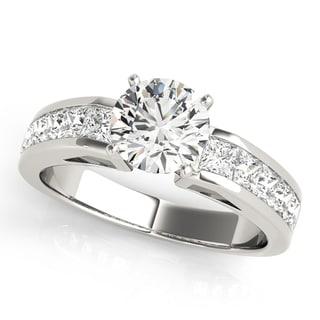14k White Gold Channel-set Diamond Princess cut Engagement Ring (1.50ct)