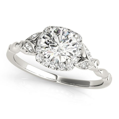 14k White Gold Diamond Halo Butterfly Engagement Ring (1.12ct)