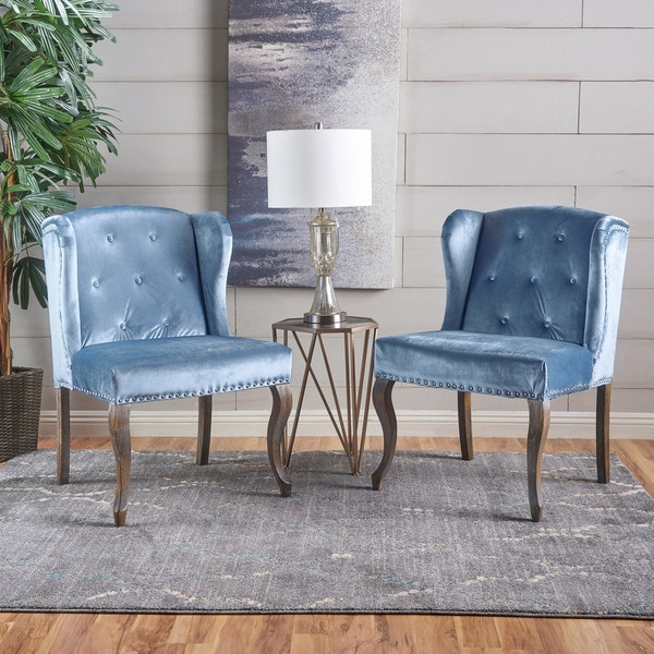 Niclas Velvet Wingback Chair (Set of 2) by Christopher Knight Home : blue velvet wingback chair - Cheerinfomania.Com