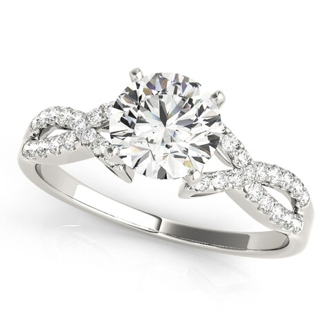 14k White Gold Bypass Diamond Twisted Engagement Ring (1.17ct)