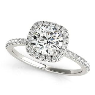 14k White Gold Square Halo Diamond Engagement Ring (1.06ct)