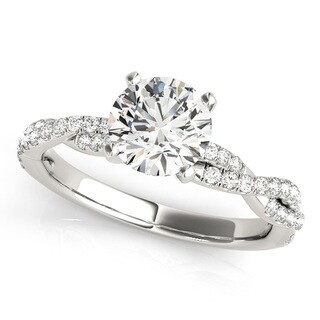 14k White Gold Diamond Twisted Bypass Engagement Ring (1.19ct)