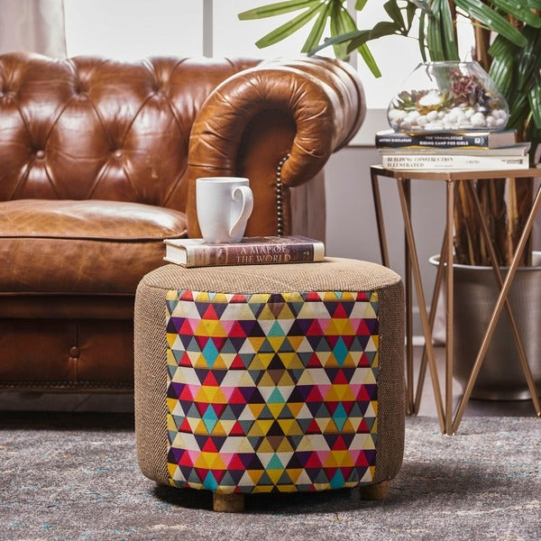 Shop Mortimer Mosaic Fabric Round Ottoman Stool By