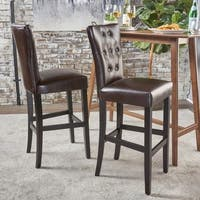Pia Backed Faux Leather Barstool (Set of 2) by Christopher Knight Home