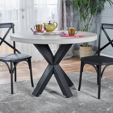 Teague Modern Lightweight Concrete Circular Dining Table with Cross Base by Christopher Knight Home - Off White