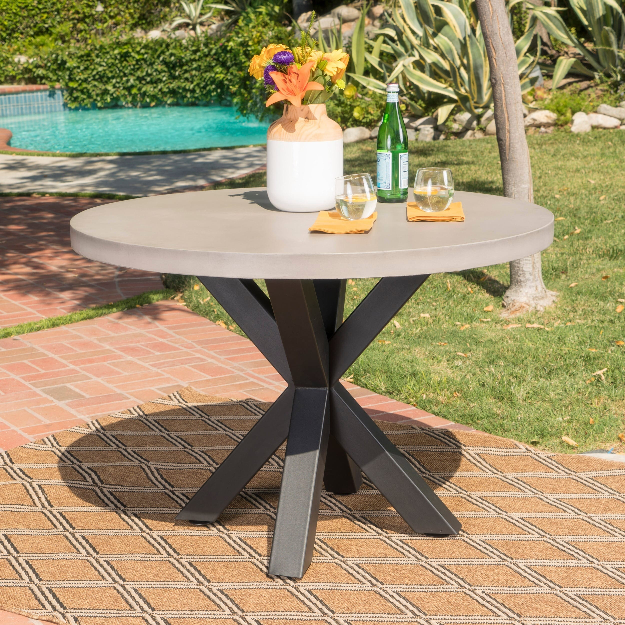 Shop Goleta Outdoor Modern Lightweight Concrete Circular Dining Table With Cross Base By Christopher Knight Home On Sale Overstock 16743283