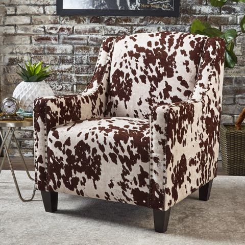 "Elysabeth Cow Print Velvet Club Chair by Christopher Knight Home - 32.75""L x 29.25""W x 37.5""H"