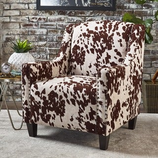 Elysabeth Cow Print Velvet Club Chair By Christopher Knight Home