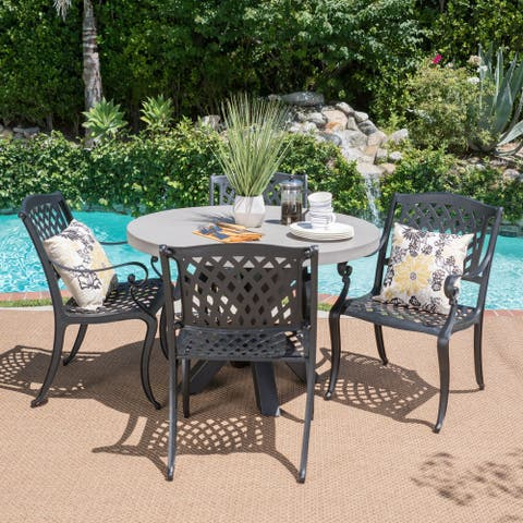 Capri Outdoor Transitional 5 Piece Cast Aluminum Dining Set with Lightweight Concrete Table by Christopher Knight Home
