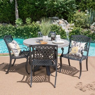 Capri Outdoor 5-piece Round Light-weight Concrete Dining Set by Christopher Knight Home