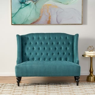 Leora Contemporary Tufted Fabric Wingback Loveseat by Christopher Knight Home