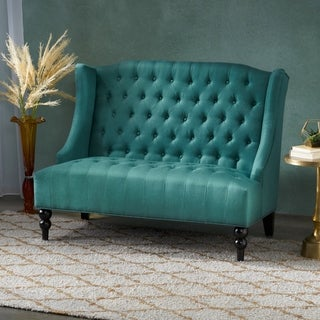 Leora Wingback Tufted Fabric Loveseat by Christopher Knight Home