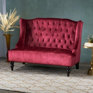 Leora Modern Glam Tufted Velvet Wingback Loveseat by Christopher Knight Home