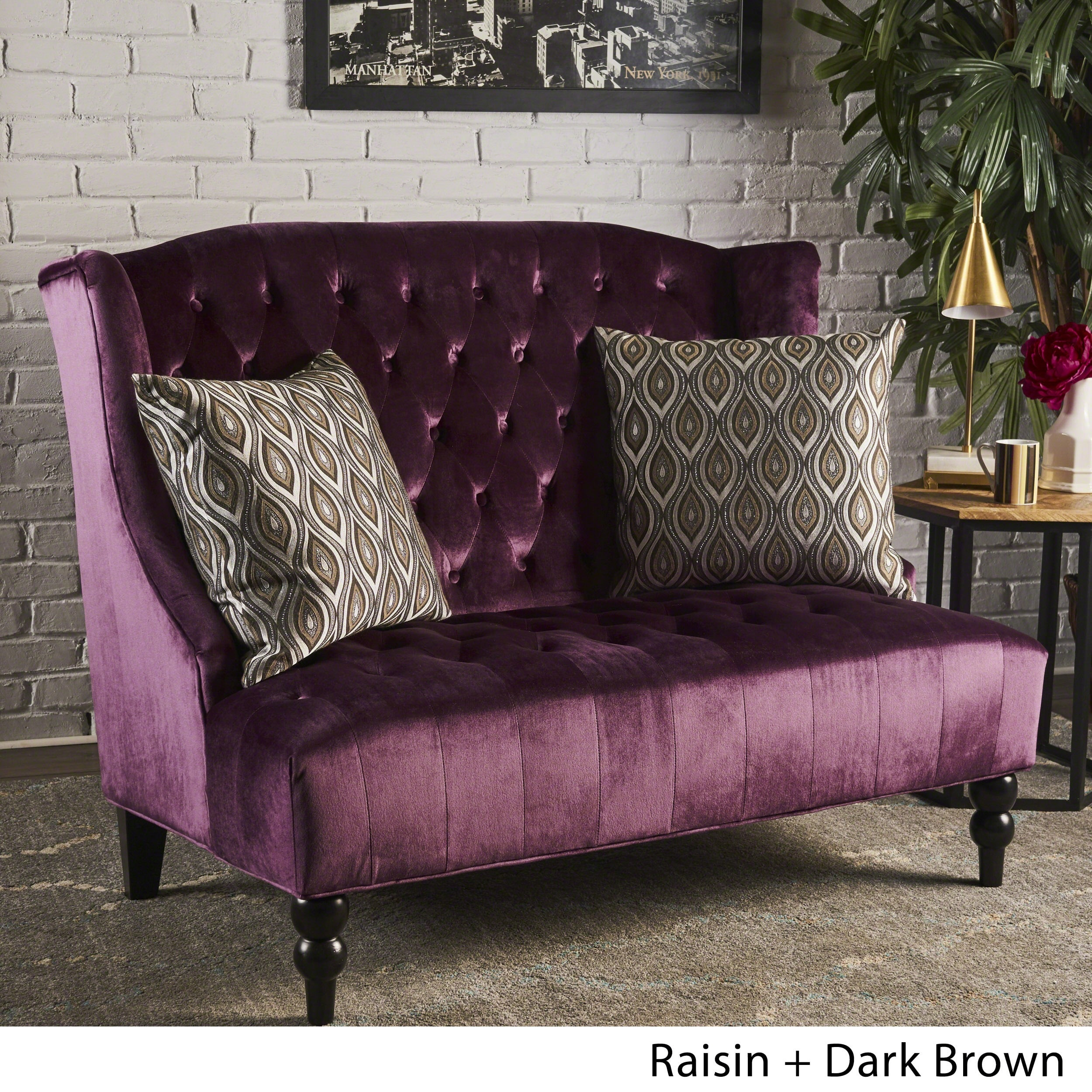 Superieur Leora Wingback Tufted Velvet Fabric Loveseat By Christopher Knight Home