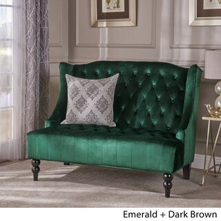 Leora Wingback Tufted Velvet Fabric Loveseat by Christopher Knight Home (Option: Emerald + Dark Brown)