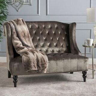 Leora Modern Glam Tufted Velvet Wingback Loveseat by Christopher Knight Home