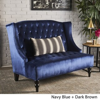 Leora Wingback Tufted Velvet Fabric Loveseat by Christopher Knight Home (3 options available)