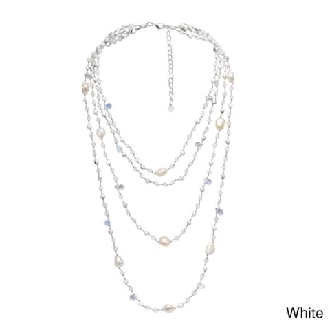 Handmade Glowing Pearl and Stones Multiple Strand Layered Necklace (Thailand)