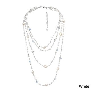 Glowing Pearl and Stones Multiple Strand Layered Necklace (Thailand)