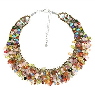 Handmade Alluring Rainbow Multi Stones Statement Necklace (Thailand)