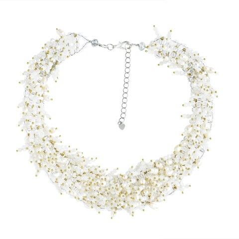Handmade Bridal Polished Mllky Quartz and Freshwater Pearl Collared Necklace (Thailand)