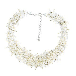 Bridal Polished Mllky Quartz and Freshwater Pearl Collared Necklace (Thailand)